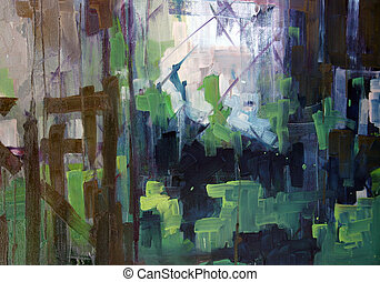 Abstract painting - Abstract plain air painting. Oil on...