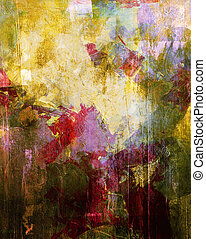 abstract painting - analog painted background with different...