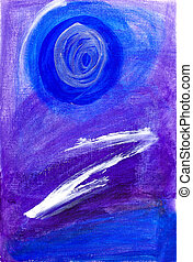 Abstract painting in blue & purple