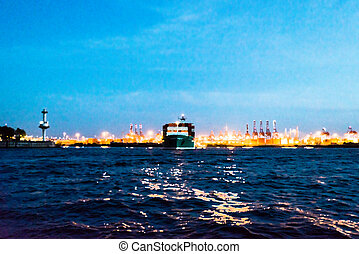 Abstract: Painting of a container ship leaving the harbor at night - photo processed with painting effect