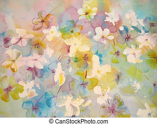 Soft abstract painting of flowers.