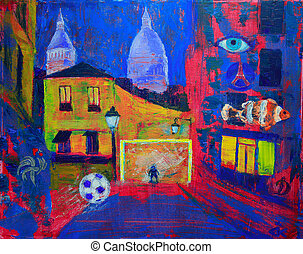 Abstract painting of the footbal on Montmartre in Paris