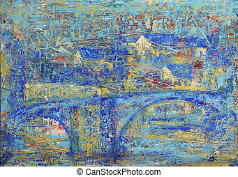 Abstract painting of the Mende - old french city