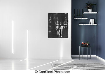 Abstract painting on white wall