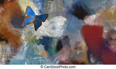 Abstract painting, vivid colors. Butterfly