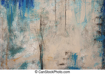 Abstract painting with blue and beige tones.