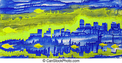 Abstract painting with blue towers of Vancouver and fishes
