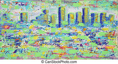 Abstract painting with Vancouver towers