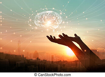 Abstract palm hands touching brain with network connections, innovative technology in science and communication concept