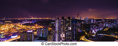 abstract panorama night cityscape on twilight time