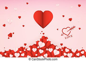 Abstract Paper art Love Heart vector Background illustration