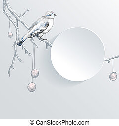 Abstract paper background with bird on the tree branch