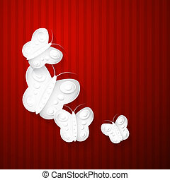 Abstract Paper Butterflies on Red Background