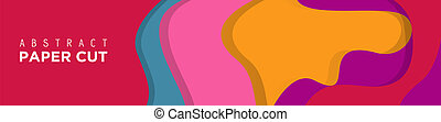 Abstract Paper Cut Banner Background.