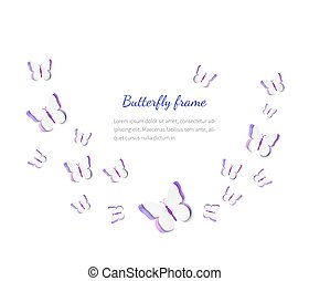 Abstract paper cut out butterflies background, vector illustration