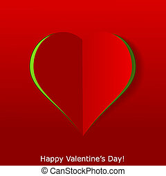Abstract paper heart on red background. Valentines day greeting card. Vector eps10 illustration