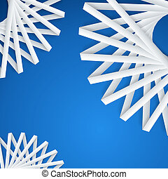 Abstract paper ribbons on blue
