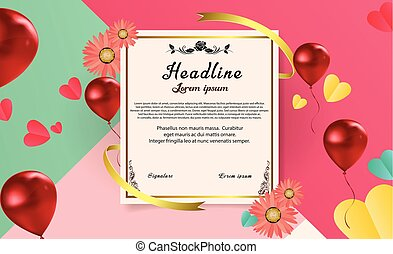 Abstract Paper Sheet Certificate Vector Template Design