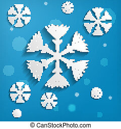 abstract paper snowflakes on blue background