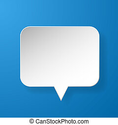 Abstract paper speech bubble on blue background. Vector ...
