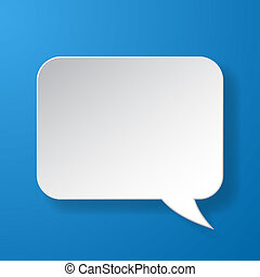 Abstract paper speech bubble on blue background. Vector...