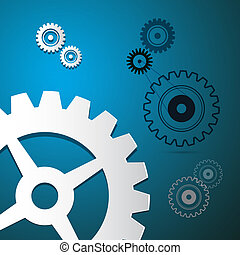 Abstract Paper Vector Cogs, Gears on Blue Background