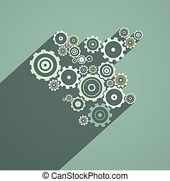 Abstract Paper Vector Cogs, Gears on Retro Background