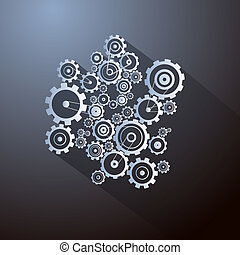 Abstract Paper Vector Cogs, Gears on Dark Background