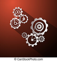 Abstract Paper Vector Cogs - Gears on Red Background