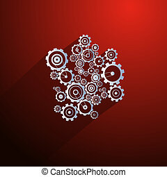 Abstract Paper Vector Cogs, Gears on Red Background