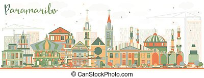 Abstract Paramaribo Skyline with Color Buildings.
