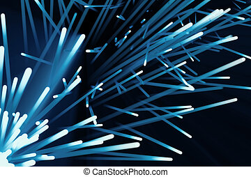 Abstract particles background, explosion with particles and light beam, 3d rendering