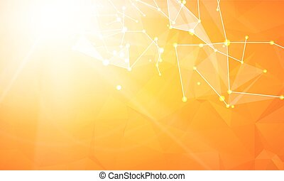 Abstract particles over orange. - Abstract particles over...