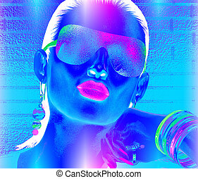 Abstract party girl, close up face, blue, pink and white