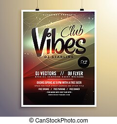 abstract party music flyer brochure template with beautiful light effect