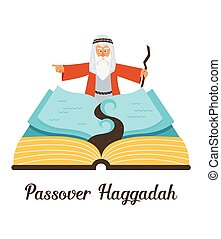 abstract passover story haggadah book. Mozes ordering let my people go out of Egypt. vector and illustration