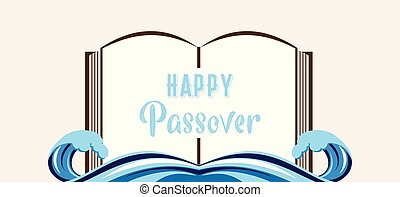 abstract passover story haggadah book over splitted red sea...