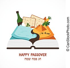 abstract passover story haggadah book over traditional food...
