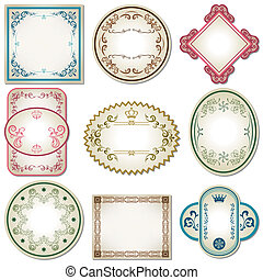Abstract pastel labels set