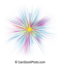 Abstract pastel starburst on white. High-key.