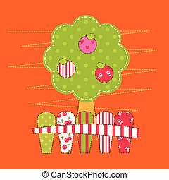 Abstract patchwork apple tree