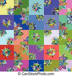 Abstract patchwork floral backgroun