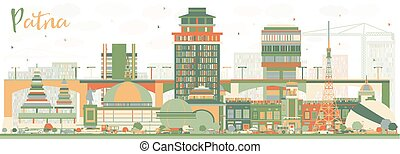 Abstract Patna Skyline with Color Buildings.