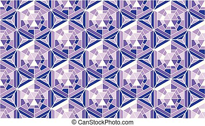 Abstract pattern in mosaic stained-glass window style. Geometry background in violet color vector illustration. Concept triangle and hexagon pattern for surface design.