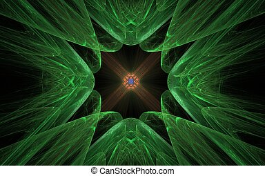 abstract pattern in the form of green bumps converging towards the center with an orange pattern inside on a black background