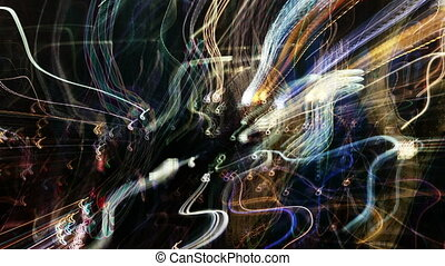 abstract pattern made from time-lapse traffic and street scene shot at night in new york