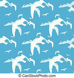 Abstract pattern of bird on the blue