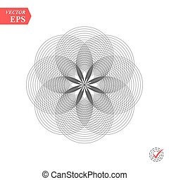 Abstract pattern of intersecting and overlapping circles. Contemporary doily round lace floral pattern card. Mandala