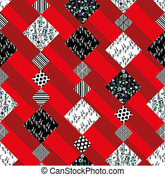 Abstract pattern seamless patchwork red background