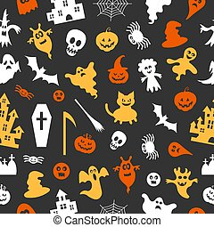 Abstract pattern seamless vector pattern background. Set of silhouettes of Halloween Great for fabric, paper, web banners, wallpapers.